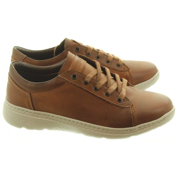 ON_FOOT Mens 100500 Stonewash Lace Shoes In Tan