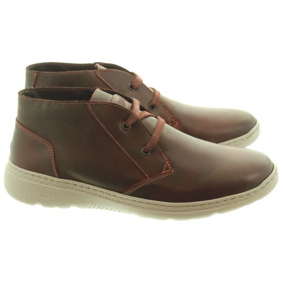 ON_FOOT Mens 100501 Stonewash Ankle Boots In Burgundy