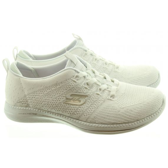 SKECHERS Ladies 104015 Elastic Trainers In White And Silver