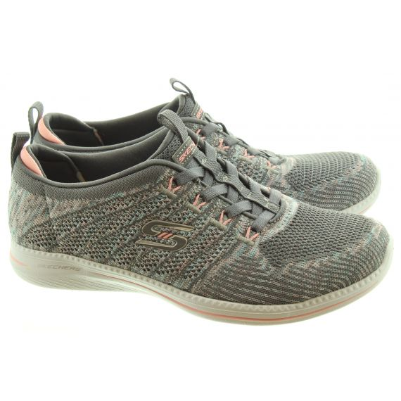 SKECHERS Ladies 104023 Elastic Trainers In Grey And Pink