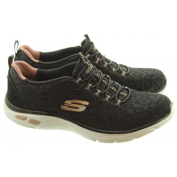 SKECHERS Ladies 12825 Elastic Trainers In Black And Rose Gold