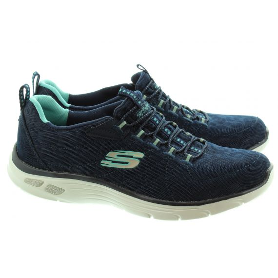 SKECHERS Ladies 12825 Elastic Trainers In Navy