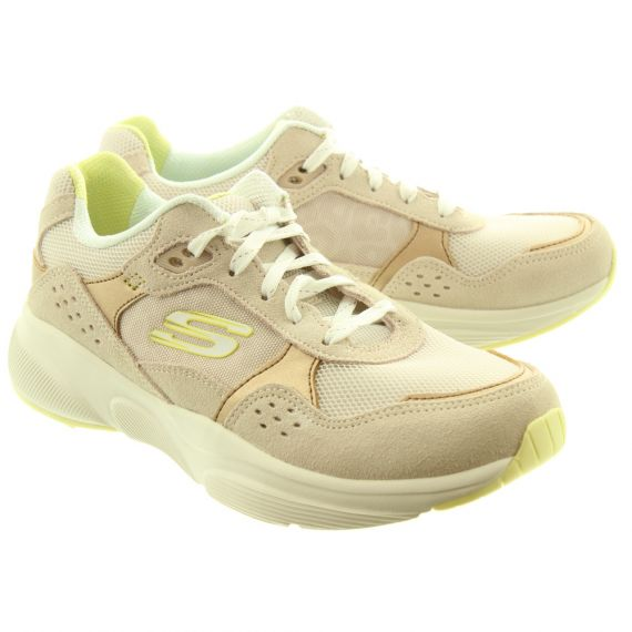 SKECHERS Ladies 13020 Lace Trainers In Taupe And Yellow