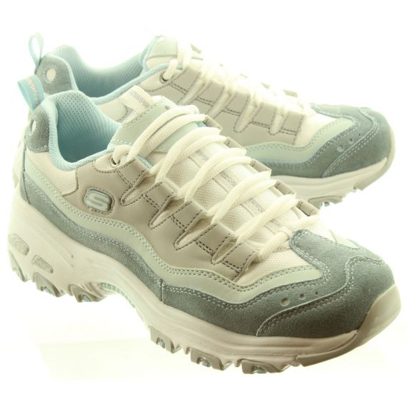 SKECHERS Ladies 13141 D'Lites Trainers In Light Blue And Grey