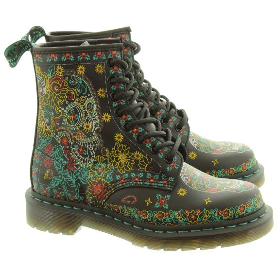 DR MARTENS Ladies 1460 Skull Boots In Black