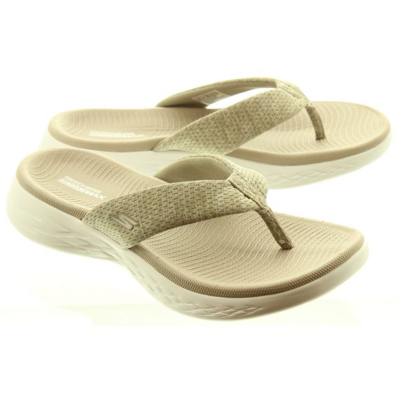 SKECHERS Ladies 15304 Flat Mule Sandals In Taupe