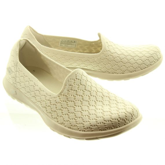 SKECHERS Ladies 15423 Goga Max Slip On Shoes In Natural