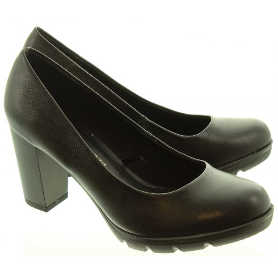 MARCO TOZZI Ladies 22404 Court Shoes In Black