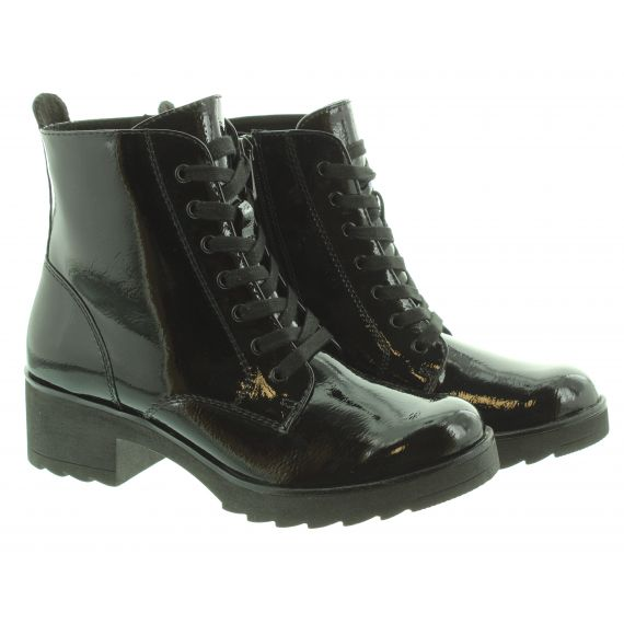 MARCO_TOZZI Ladies 255262 Lace Ankle Boots In Black Patent