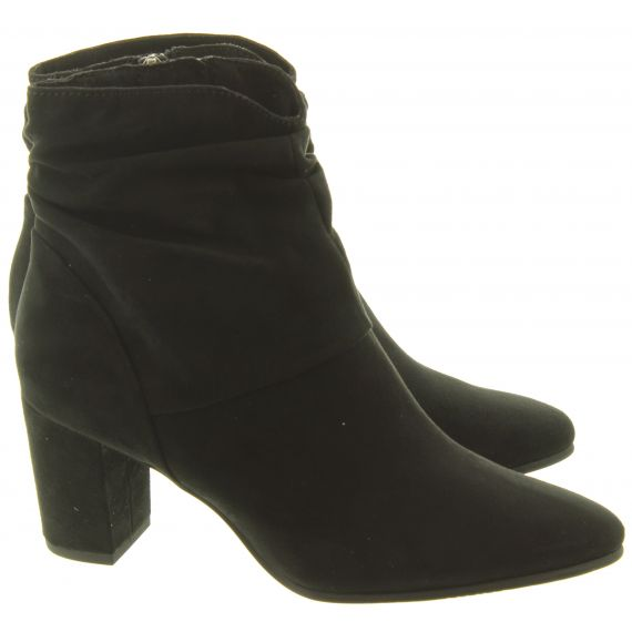 MARCO_TOZZI Ladies 25307 Heel Lace Ankle Boots In Black