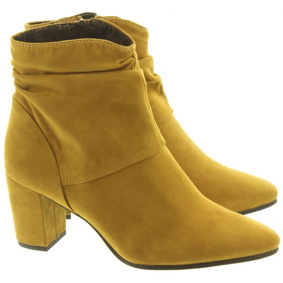 MARCO TOZZI Ladies 25307 Heel Lace Ankle Boots In Mustard