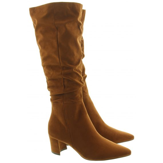 MARCO TOZZI Ladies 25512 Heel Knee Boots In Cognac
