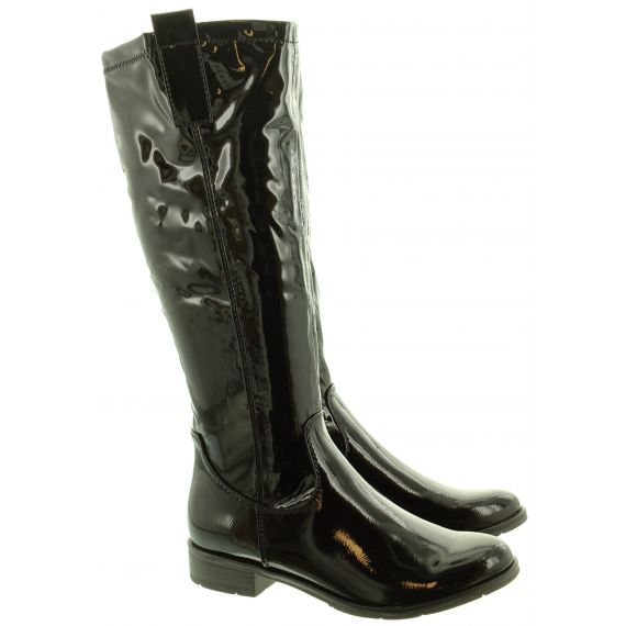 MARCO TOZZI Ladies 25520 Flat Knee Boots In Black Patent