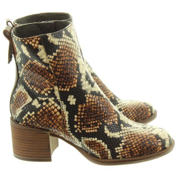 TAMARIS Ladies 25947 Snake Ankle Boots In Brown