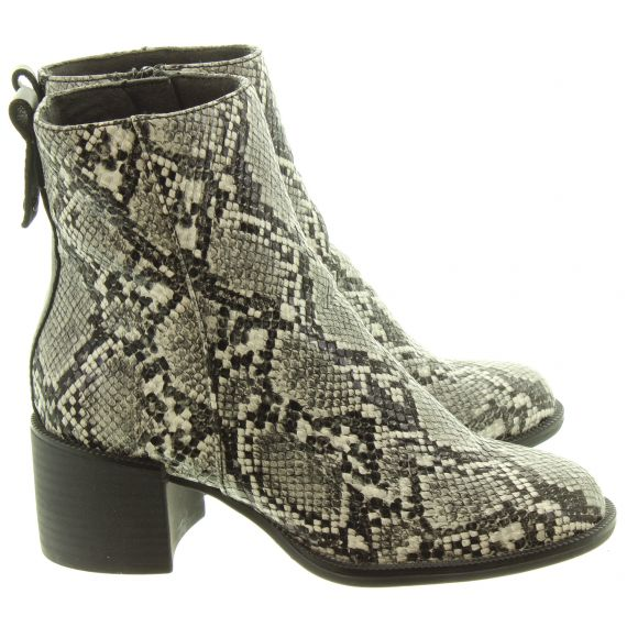 TAMARIS Ladies 25947 Snake Ankle Boots In Grey