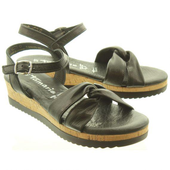 TAMARIS Ladies 28225 Wedge Sandals In Black