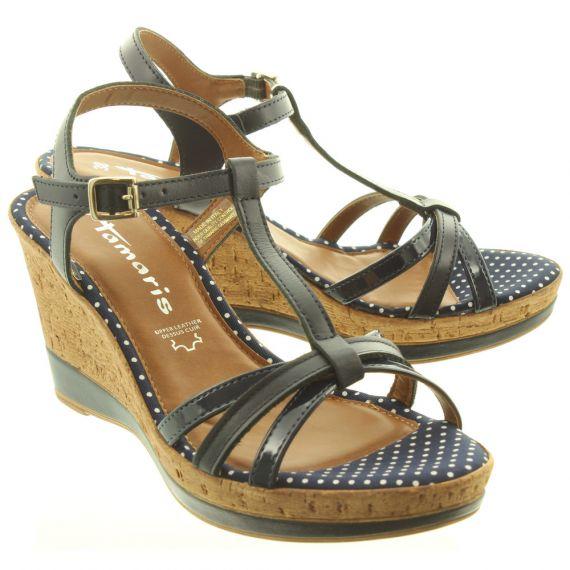 TAMARIS Ladies 28347 Wedge Sandals In Navy