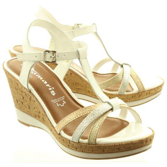 TAMARIS Ladies 28347 Wedge Sandals In White Multi