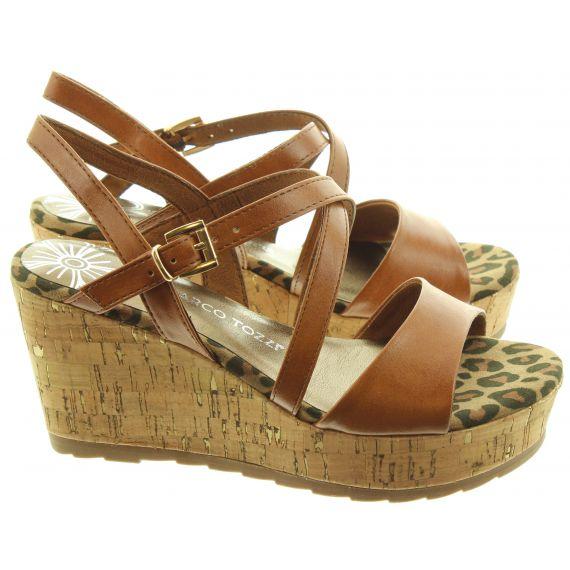 MARCO TOZZI Ladies 28371 Wedge Sandal In Tan