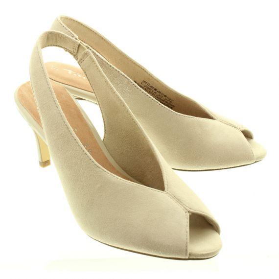 TAMARIS Ladies 29614 Peep Shoes In Beige