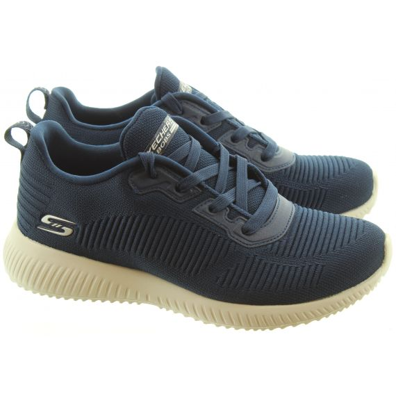 SKECHERS Ladies 32504 Bobs Lace Up Trainers In Navy