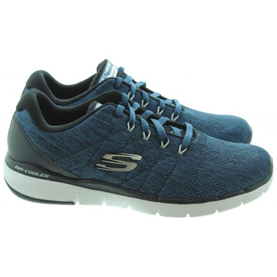 SKECHERS Mens 52957 Lace Trainers In Blue And Black