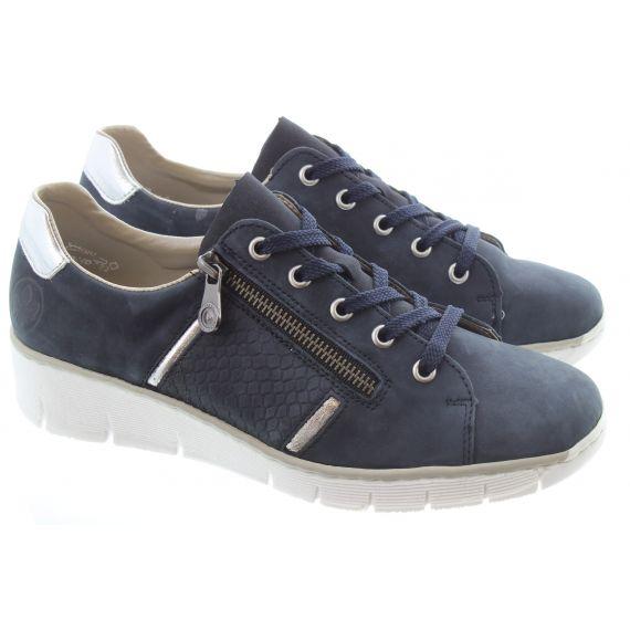 RIEKER Ladies 53711 Zip Wedge Shoe in Blue