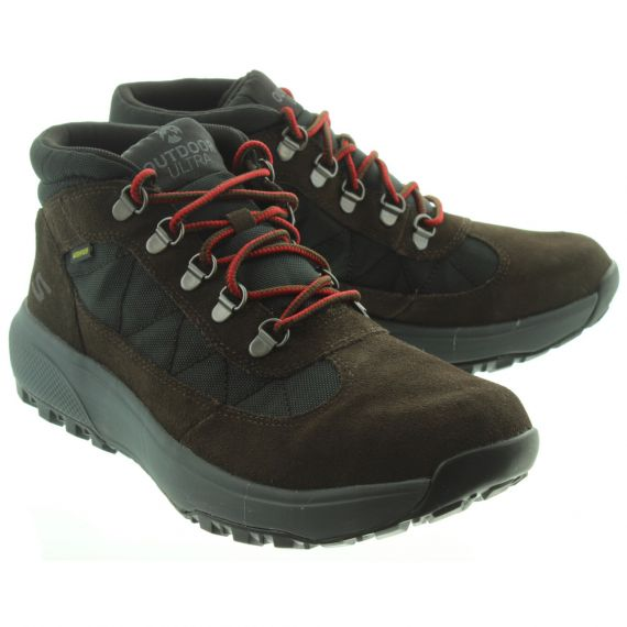 SKECHERS Mens 55487 Lace Boots In Chocolate And Black