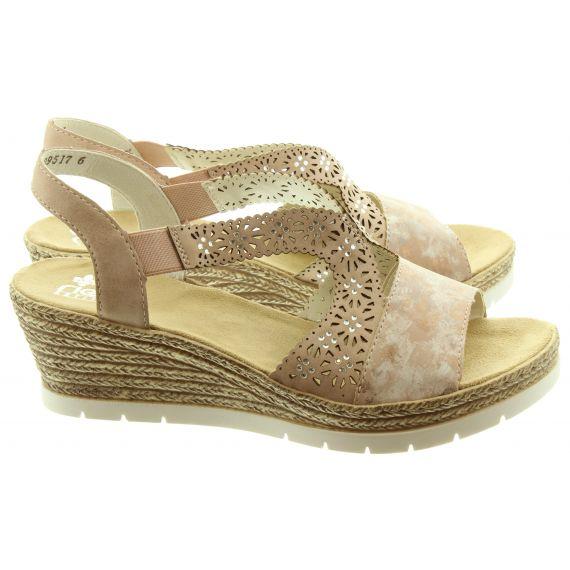 RIEKER Ladies 61916 Wedge Sandals In Rose