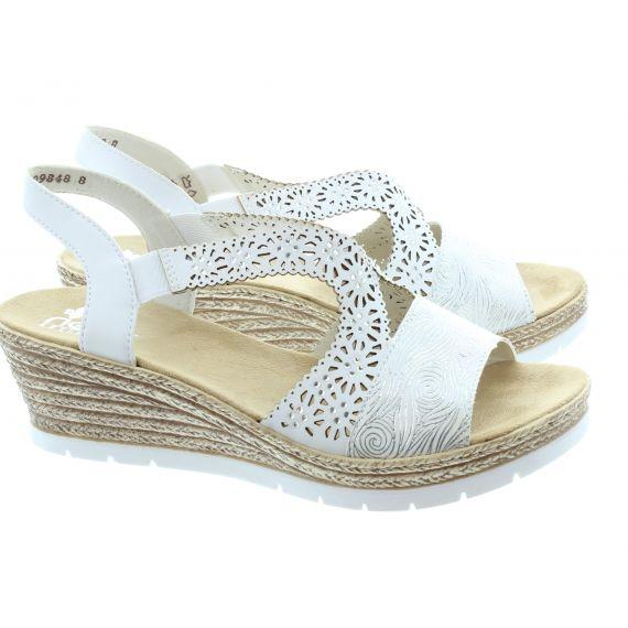 RIEKER Ladies 61916 Wedge Sandals In White