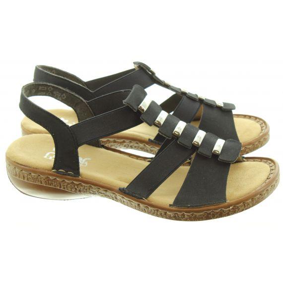 RIEKER Ladies 62850 Flat Sandal In Navy