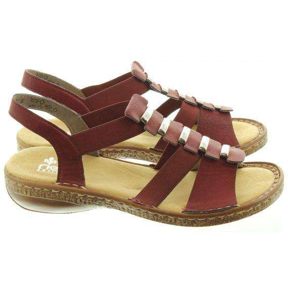 RIEKER Ladies 62850 Flat Sandals In Wine