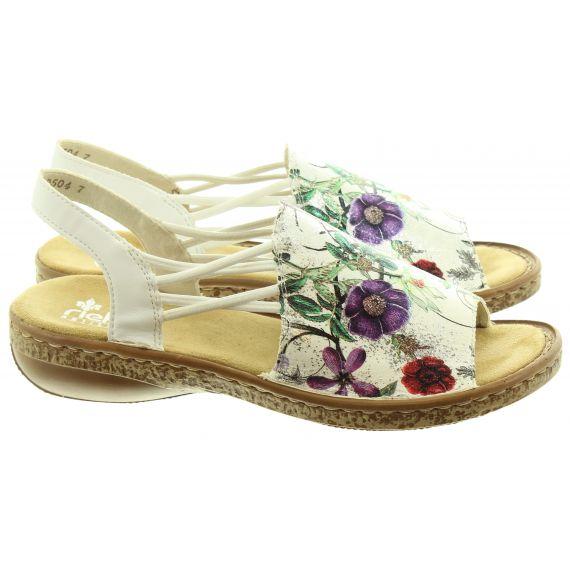 RIEKER Ladies 628D1 Flat Sandals In White Multi