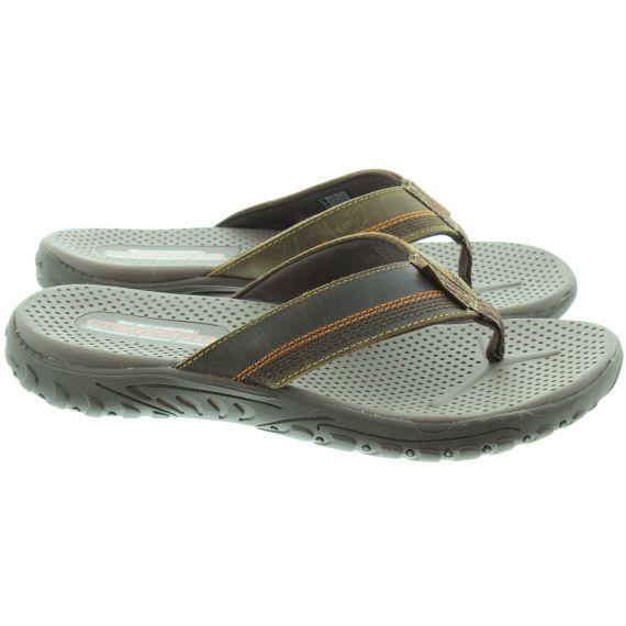 SKECHERS Mens 65460 Flip Flop Sandals In Brown