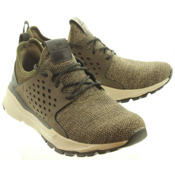 SKECHERS Mens 65659 Lace Trainers In Olive And Brown