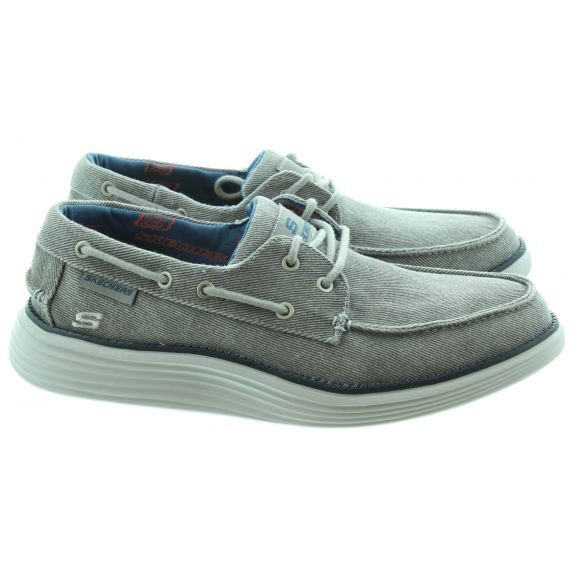 SKECHERS Mens 65908 Boat Shoes In Light Grey