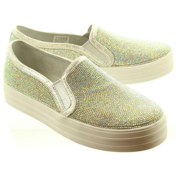 SKECHERS Ladies 673 Platform Slip On Shoes In Silver