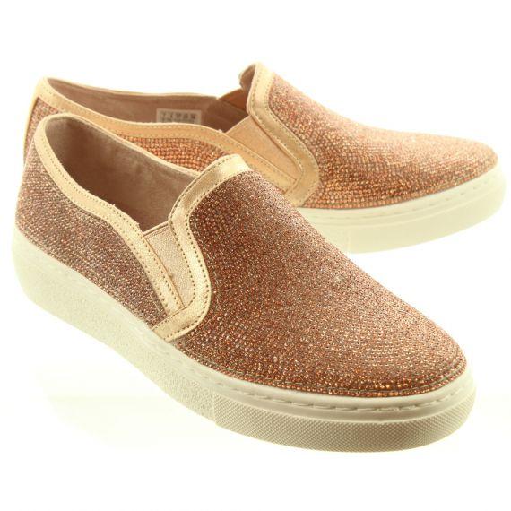 SKECHERS Ladies 73803 Diamante Slip On Shoes In Rose Gold