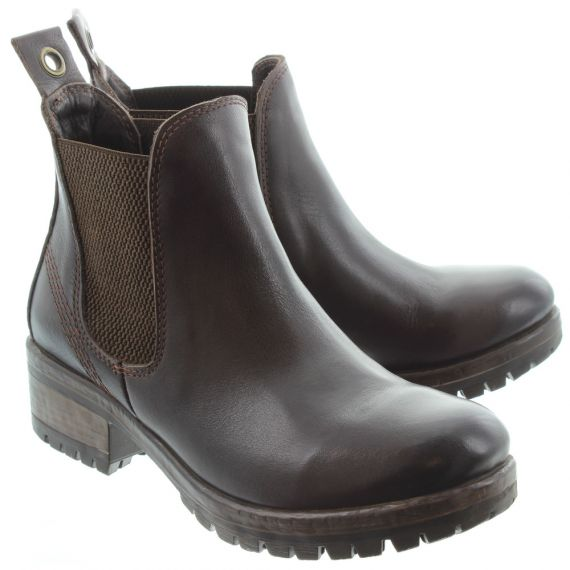 BUENO Ladies 8M0100 Logger Chelsea Boots In Brown.