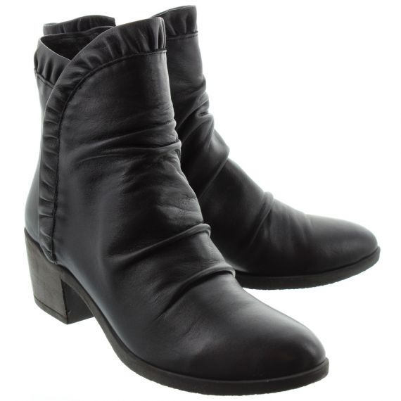 BUENO Ladies 8M0900 Ruffle Ankle Boots In Black
