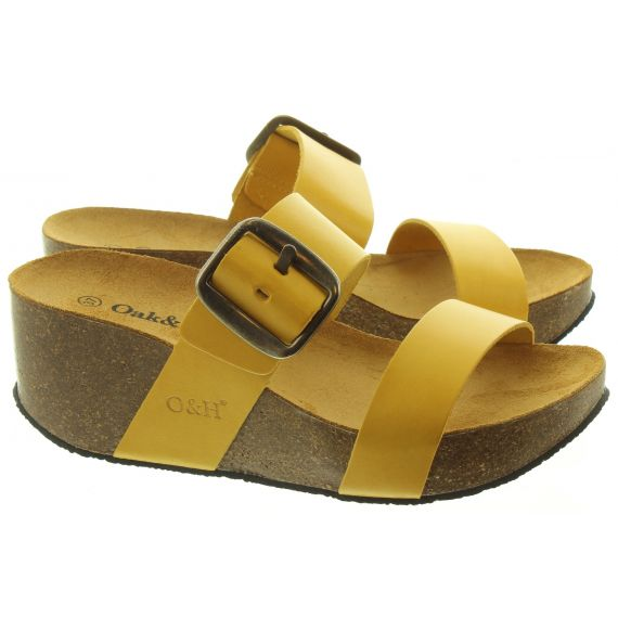 OAK AND HYDE Ladies Alicante Wedge Mules In Yellow