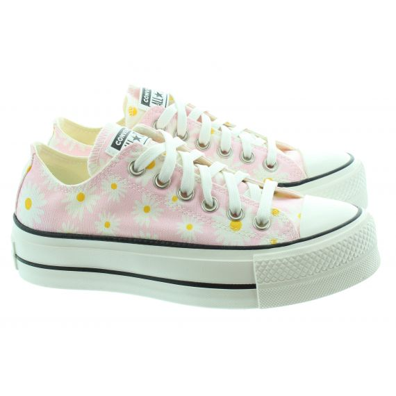 CONVERSE Ladies Chuck Taylor All Star Lift Ox In Pink White Multi