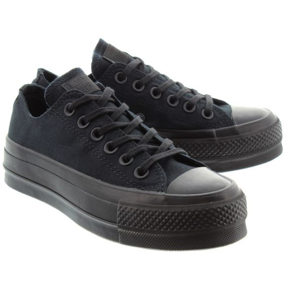 CONVERSE Ladies Allstar Clean Lift Ox Shoes In All Black