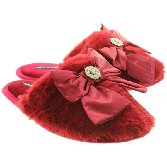 PRETTY YOU Ladies Alyssa Slippers In Red