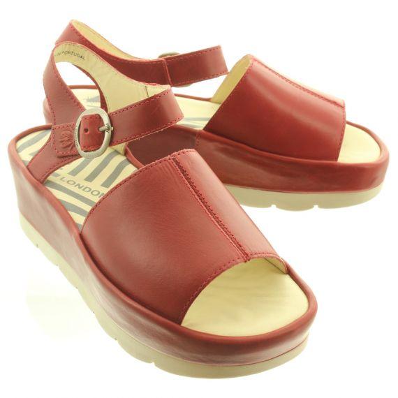 FLY Ladies Bano Flatform Sandal In Red