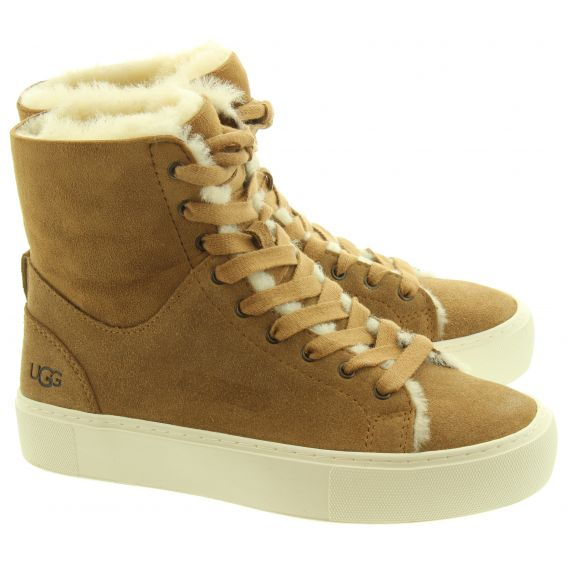UGG Ladies Beven Lace Boots In Chestnut