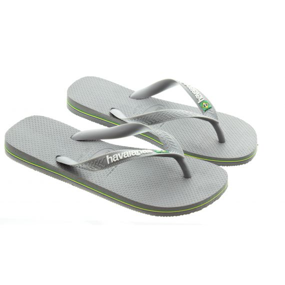 HAVAIANAS Brazil Logo Toe Post Sandals In Grey