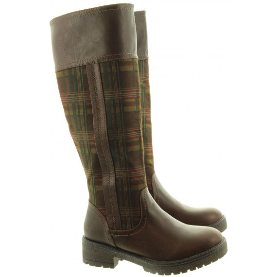 HEAVENLY FEET Ladies Burley6 Knee Boots In Chocolate Check