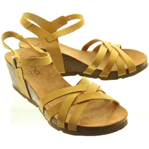 YOKONO Ladies Cadiz 071 Weave Wedge Shoes In Mustard