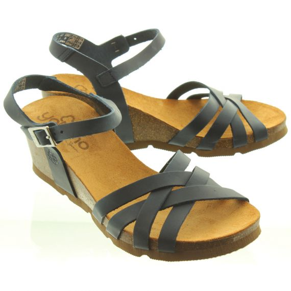 YOKONO Ladies Cadiz 071 Weave Wedge Shoes In Navy